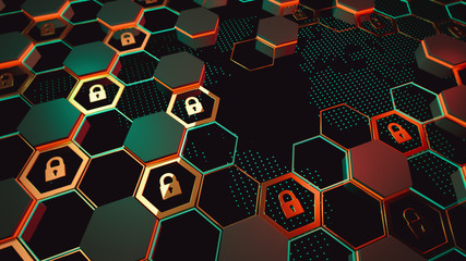 3d render. Abstract crypto cyber security technology on global network background. Digital theme.