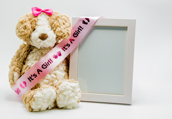 'It's A Girl' pink satin ribbon on stuffed teddy bear with empty picture frame to customize with photo