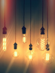 Retro style image of industrial light bulbs