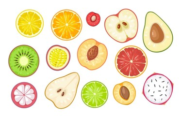 Set slice fruits. Vector color flat illustration