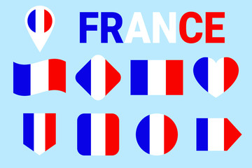France flag vector set. Collection of French national flags. Flat isolated icons. Illustration with text French in traditional colors. Web, sports pages, travel, tourist, geographic design elements