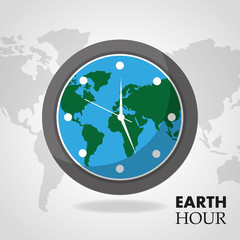 earth hour globe inside clock map background vector illustration