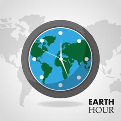 earth hour globe inside clock map background vector illustration