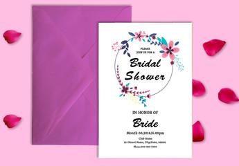 Modern Floral Bridal Shower Invitation Layout 1