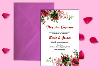 Engagement Party Invitation Layout with Watercolor Floral Elements 1