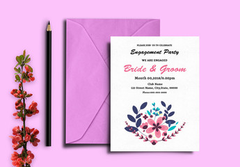 Modern Floral Engagement Party Invitation Layout 1