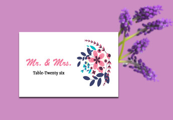 Modern Floral Wedding Table Card Layout 1