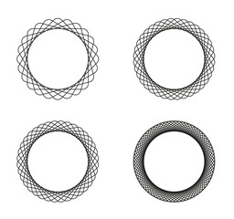 Collection of 4 black line spirograph abstract elements - 4 different geometric ornaments flower like, symmetry, isolated on white