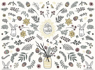 Hand sketched floral design elements for Easter, flowers, leaves, Easter eggs and bunny for text decoration