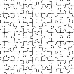 Seamless pattern of hand drawn jigsaw puzzle pieces, separate pieces that can be extracted