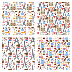 Paris vector famous travel cuisine traditional modern france culture europe eiffel fashion design architecture seamless pattern background illustration.
