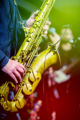 Saxophone player performing on the stage