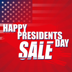 Happy president's day on a retro background with the flag of america. Sale banner