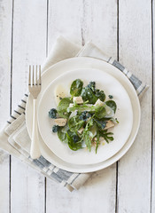 Chicken, Spinach and Arugula Salad with Anchovy-Lemon Vinaigrette and Kale Chip Croutons