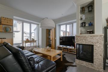 Luxury rustic living room. Interior design.