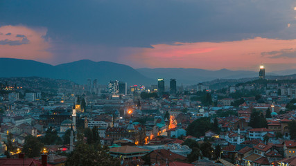 Warm rainy evening in Sarajevo, beautiful skyline at dusk