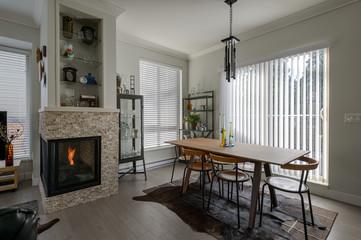 Luxury rustic dining room. Interior design.