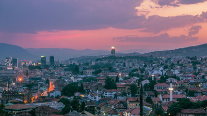Warm evening in Sarajevo, beautiful skyline at dusk with purple touch