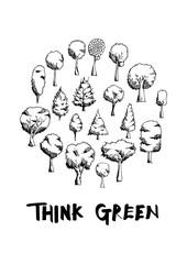 Black Line Tree doodle illustration circle frame line sketch style eps10