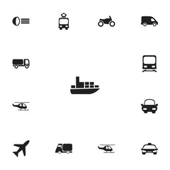 Set of 13 editable shipment icons. Includes symbols such as aircraft, wagon, luminary and more. Can be used for web, mobile, UI and infographic design.