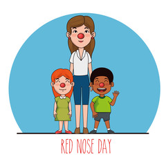 red nose day people with red nose vector illustration graphic design