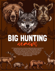 Wild animal and bird poster of open hunting season