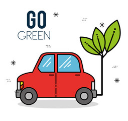 eco car green energy Ecology environmentally friendly concept vector illustration graphic design