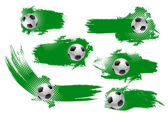 Soccer ball banner of football championship design