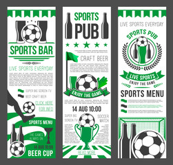 Sport bar invitation banner for football event