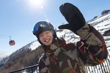 Young men outdoor skiing