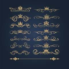 Gold vintage ornaments, vector image