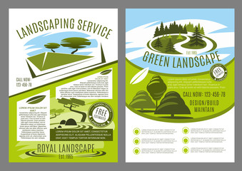 Landscaping and gardening service business poster