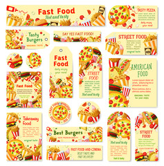Fast food restaurant tag and cafe menu card design