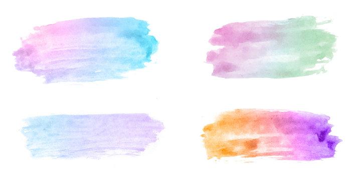 Various Watercolor Design Elements in Unicorn Rainbow Colors