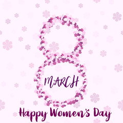 8 March. Happy Women's day greeting card with handwritten lettering pink text and flowers. Vector