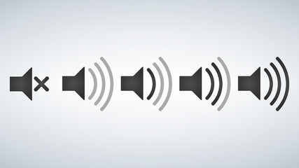Set of Sound Icons Vector Design Flat Style Volume levels.