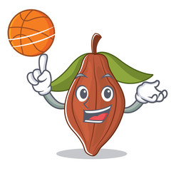 With basketball cacao bean character cartoon