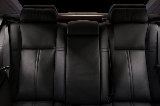 Luxury car interior detail. Leather seats.