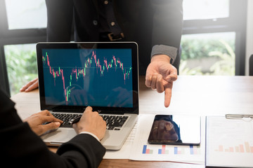 Finance trade manager showing reports screen analysis finance currency data on stock trade graph on business currency market