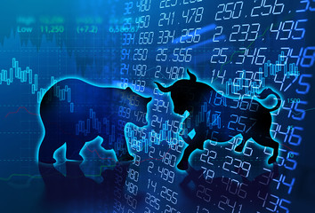 silhouette form of bull and bear on technical financial graph