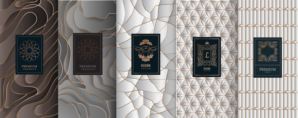 Collection of design elements,labels,icon,frames, for packaging,design of luxury products.Made with golden foil.Isolated on silver and white background. vector illustration