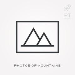 Line icon photos of mountains