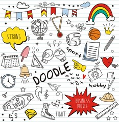 Set of colorful doodle on paper background.Doodles boxing elements