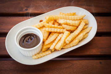 French fries with ketchup.