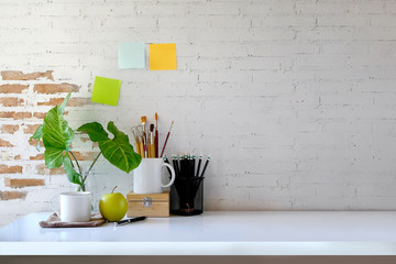 Workspace mockup and office accessories with copy space