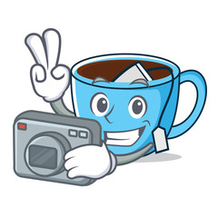 Photographer tea cup mascot cartoon