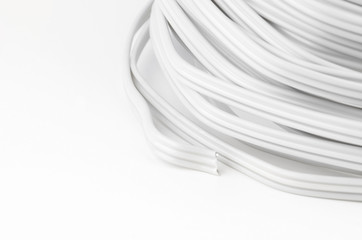 Electric cable on white