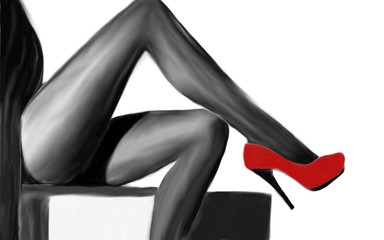Drawing of female legs and red shoes