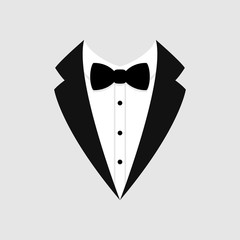Man's jacket. Tuxedo. Weddind suit with bow tie. Vector icon.