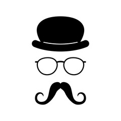 Man face with glasses, mustache and hat. Photo props. Gentleman. Detective. Vector